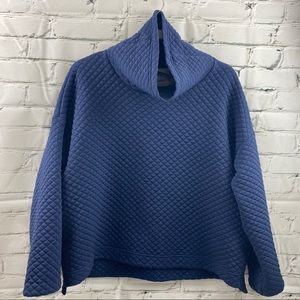 New balance quilted navy cowl neck sweater